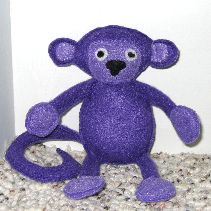 Marty The Purple Monkey Organic Catnip Bell Cat Toy