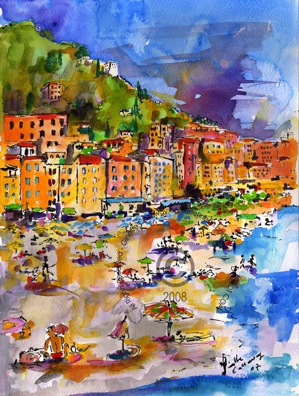 Original Watercolor Painting - Italian Riviera Camogli