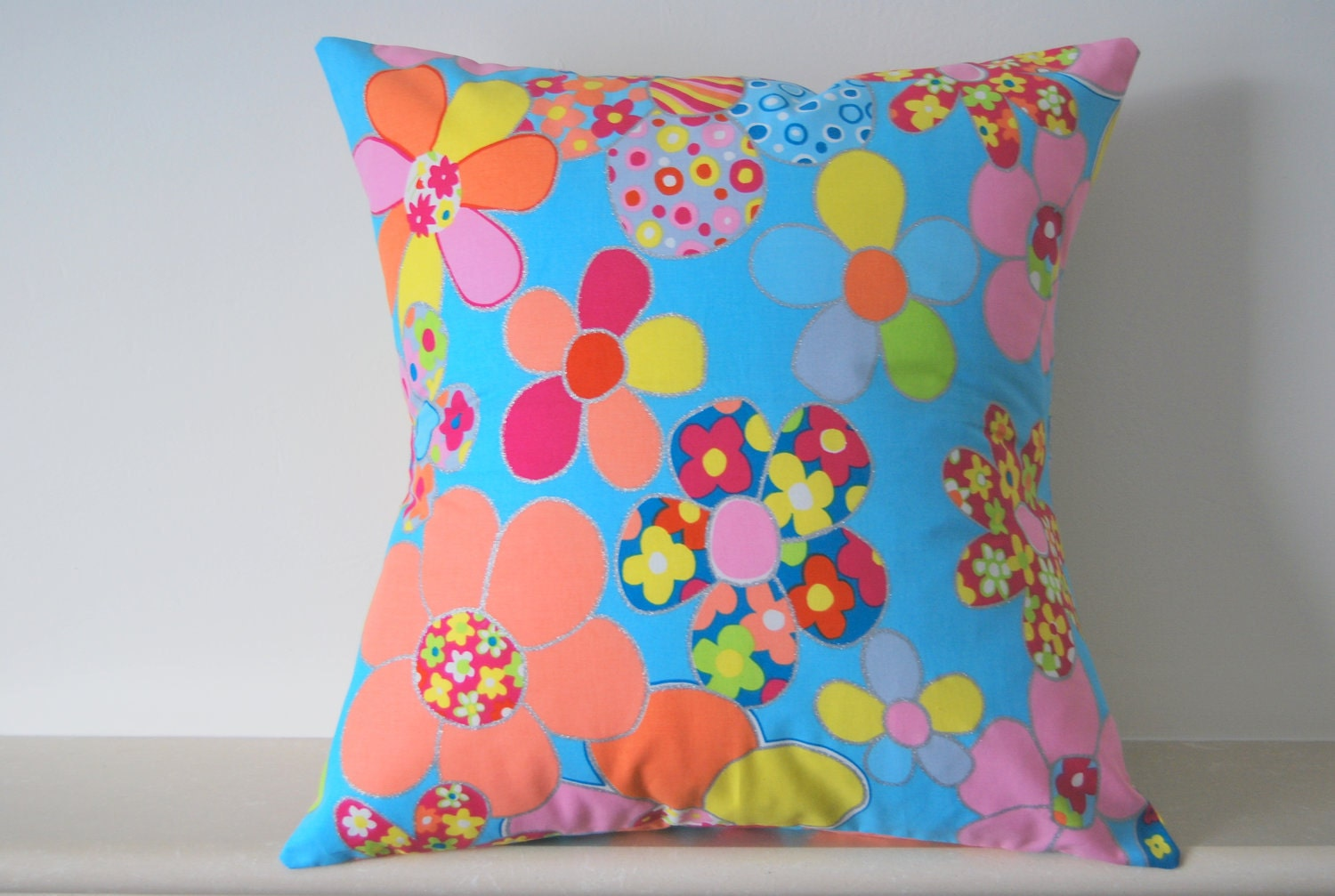 "Bright Funky Floral Throw Pillow Cover/ Cushion Cover, Pillow Cover. Cotton  14"" x 14"" Turquoise, Pink, Orange, Yellow, Green"