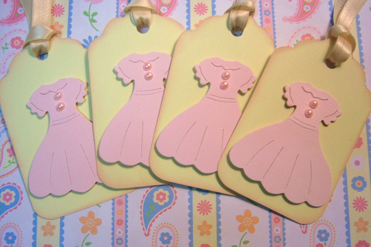 Sweet Pink Dress with Pearls 3 D Hang Tags