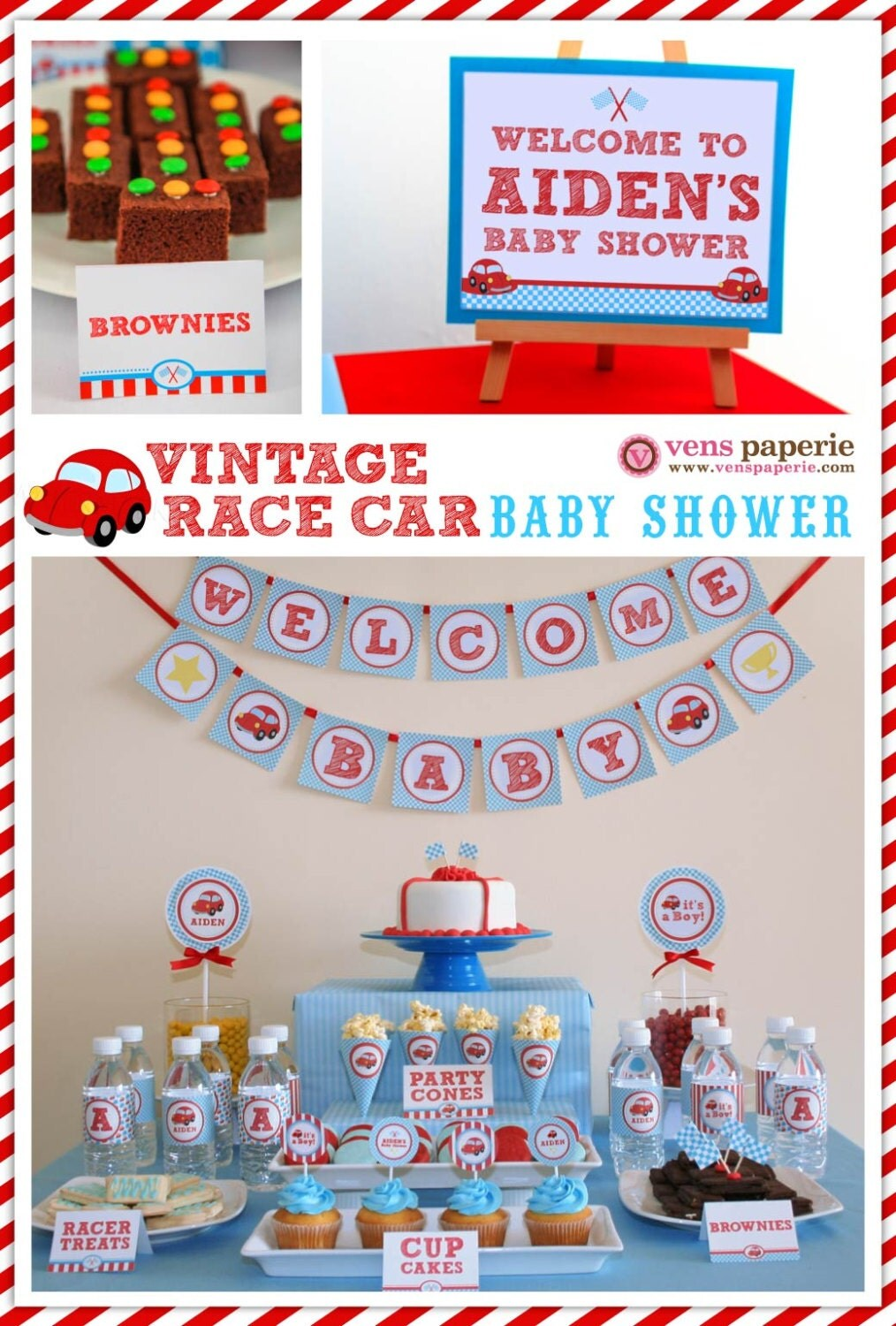 vintage red racing car baby shower package personalized full