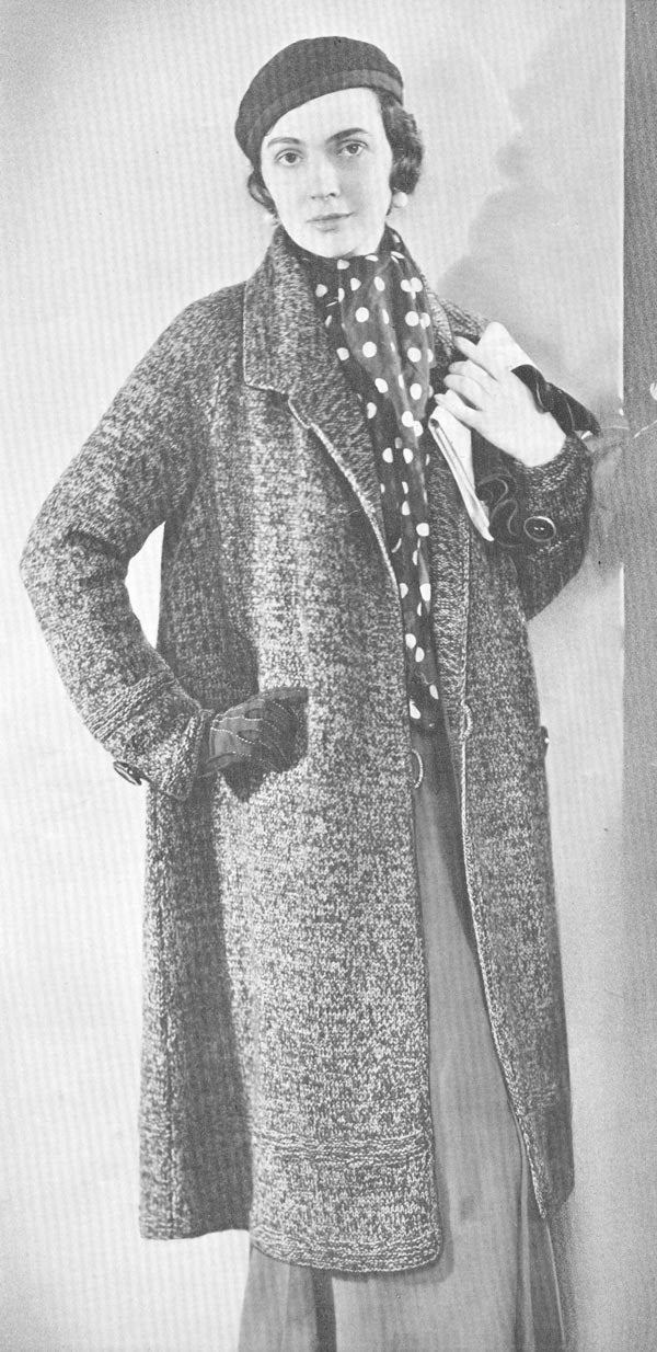 1930s Knitting Patterns : Vintage 1930s Swagger Coat Knitting Pattern PDF 3212 by cemetarian
