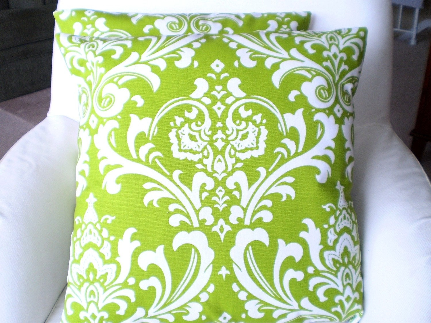 Pair of Pillow Cushion Covers 18 x 18 Chartreuse and White Damask