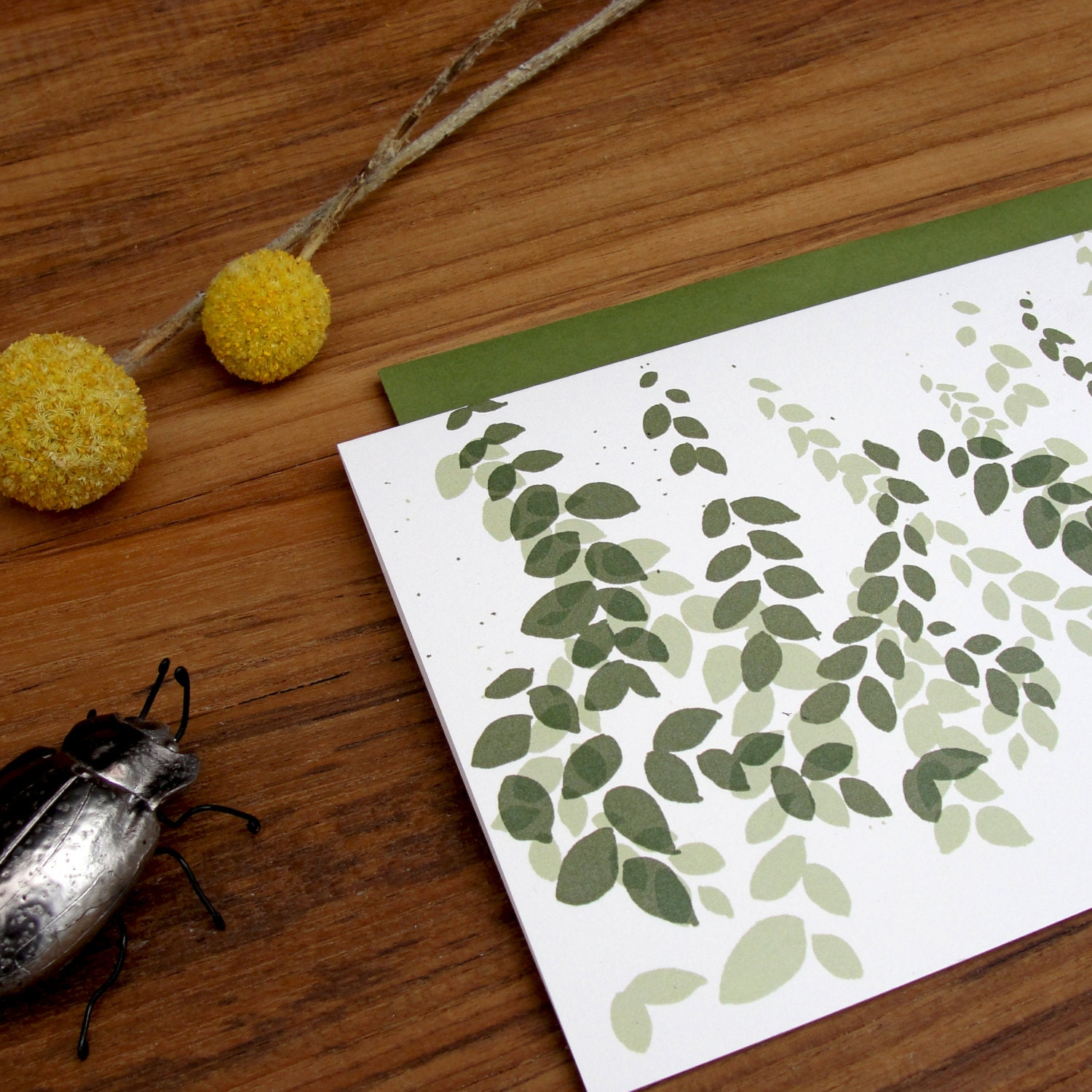 Sage and Olive Green Garden Thank You Notes Blank Greeting Card Set - anopensketchbook