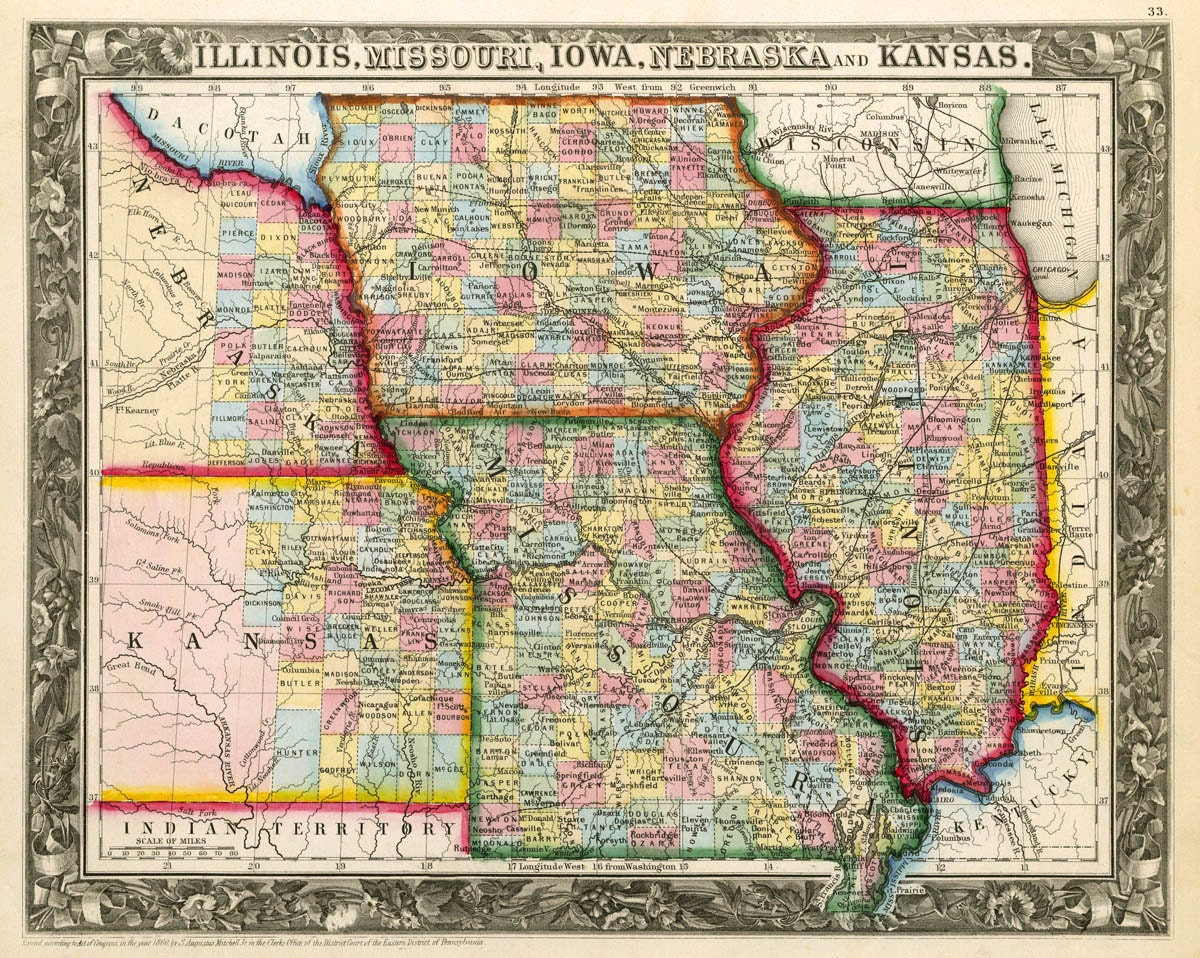 stunning illinois iowa missouri map association