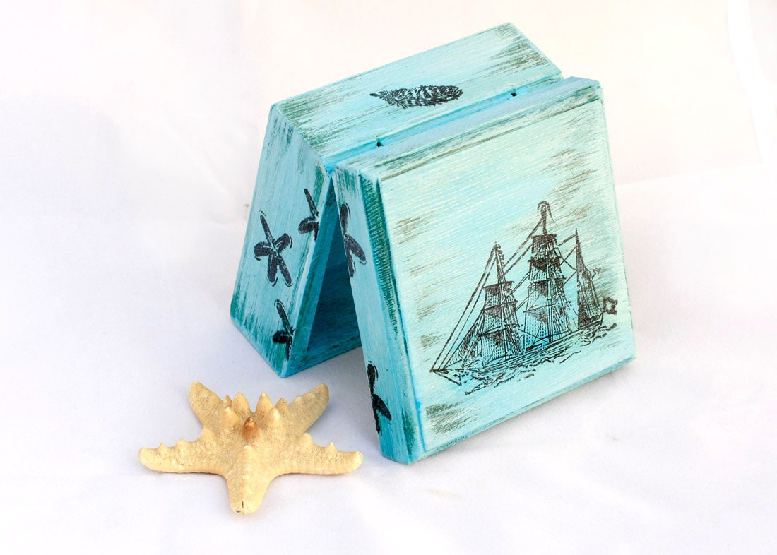 Blue box, Jewelry Keepsake Trinket Box, Sea Treasury Pirate Wooden Box, Treasury  Box ,  Jewelry box , distressed box - MyHouseOfDreams
