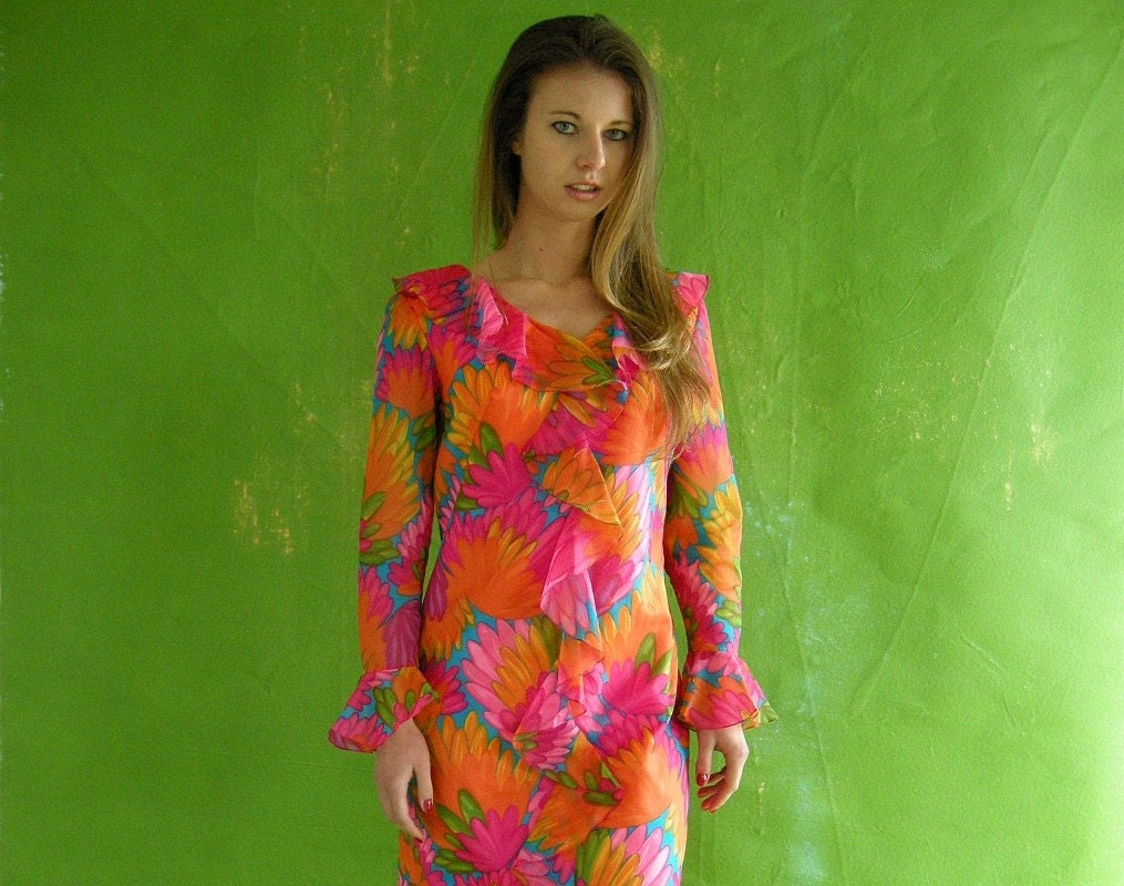Bright Abstract Floral Vintage 60s Ruffled Dress S by empressjade from etsy.com