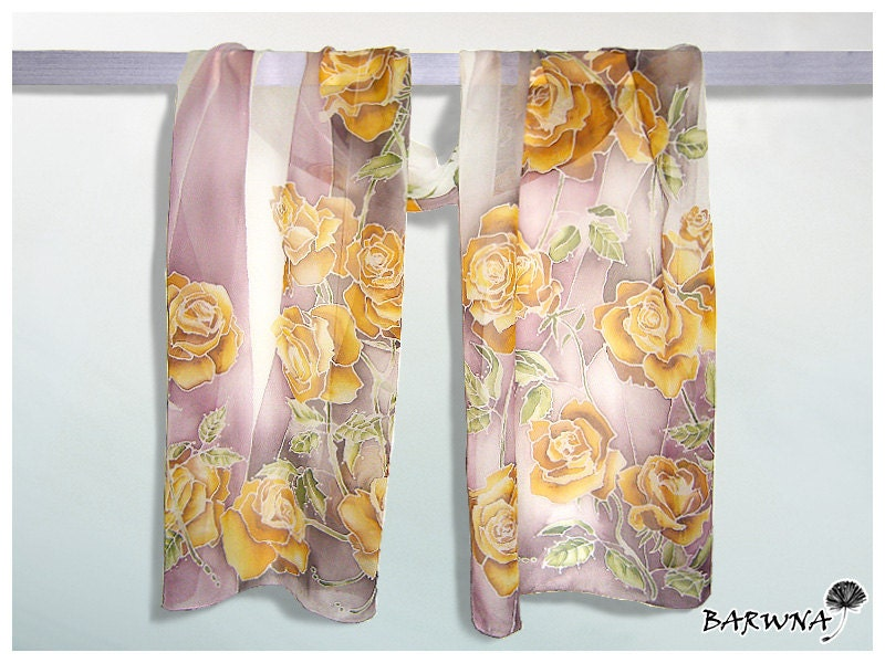 Silk scarf 'Roses' hand painted - gold, white, pink. - MinkuLUL