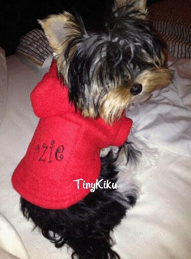 PERSONALIZED RED Fleece HOODIE w/Pocket Dog Coat/Jacket or Any Color  (xxxs-xxs-xs-s-m)