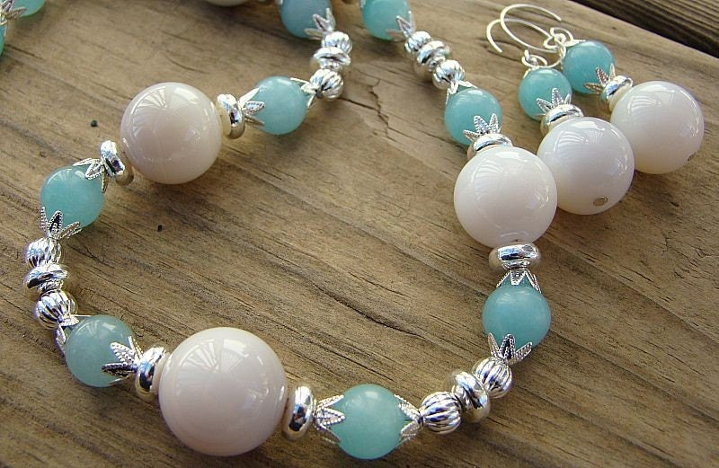 Handmade OOAK Botswana Agate, Blue Quartz and Silver Bead Necklace and Earring Set
