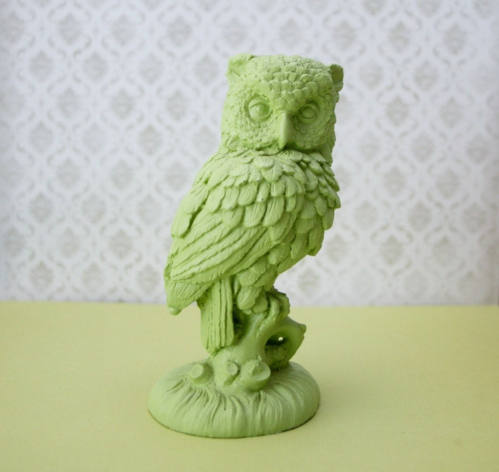Upcycled green owl