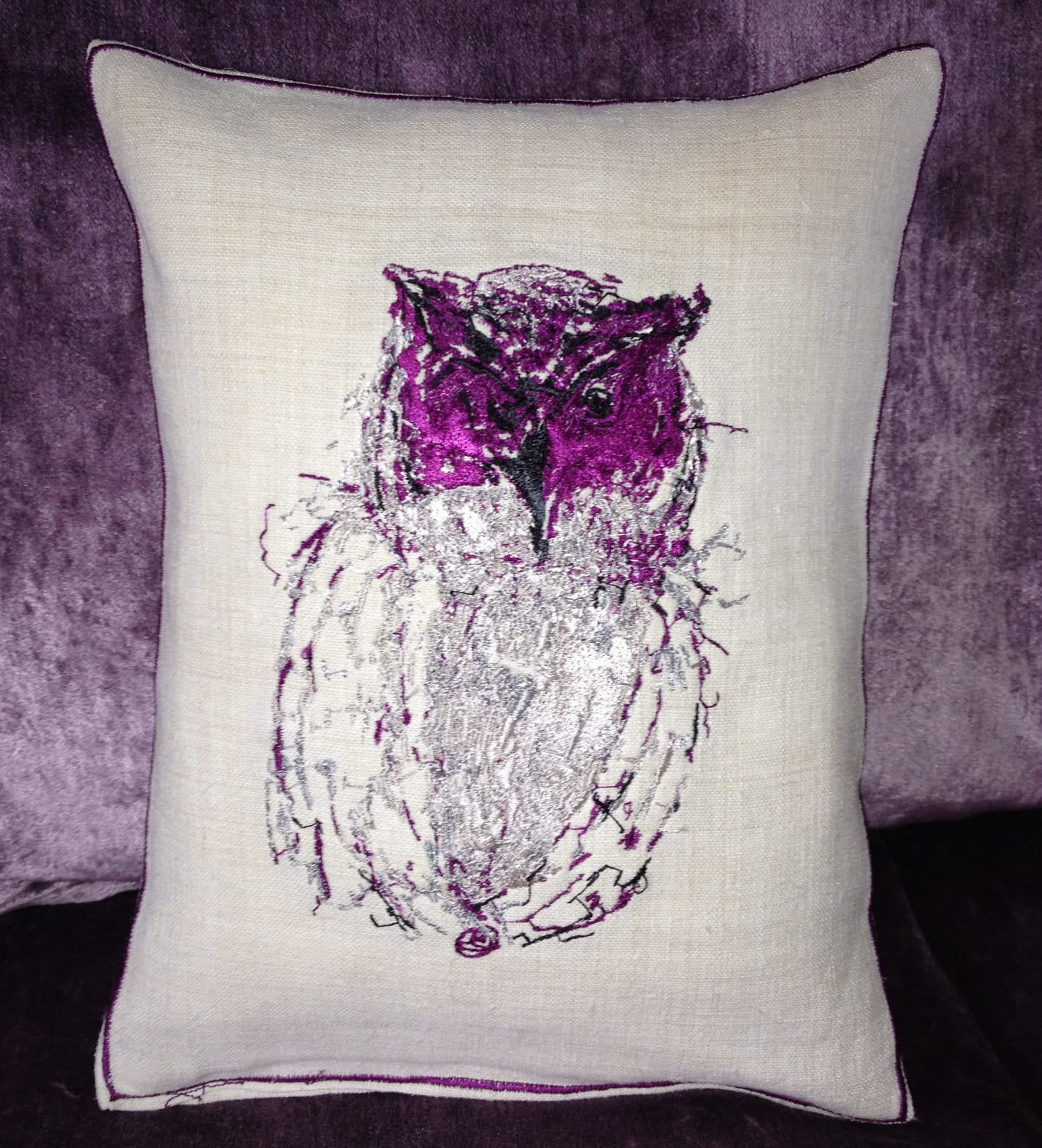 Tatty Owl, Embroidery Art Throw Cushion - Vintage Linen