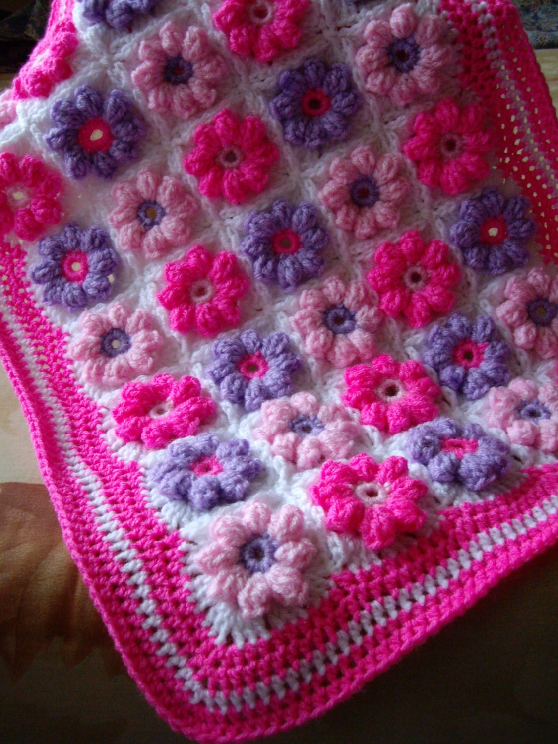 Granny Square American girl doll blanket...Knitted 18 inches doll blanket...Pink harmony doll afghan...