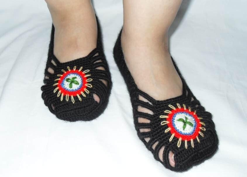 Crocheted دمپایی صفحه اصلی -- رنگارنگ گل کفش دست دوزی جوراب زمستان لوازم جانبی TeamT