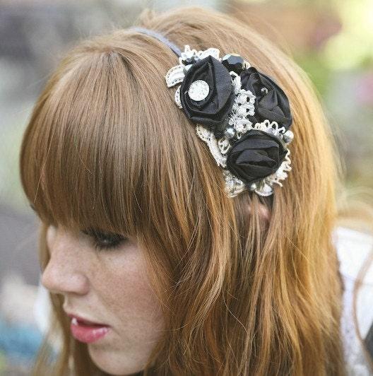 Black Rose and Vintage Lace Headband