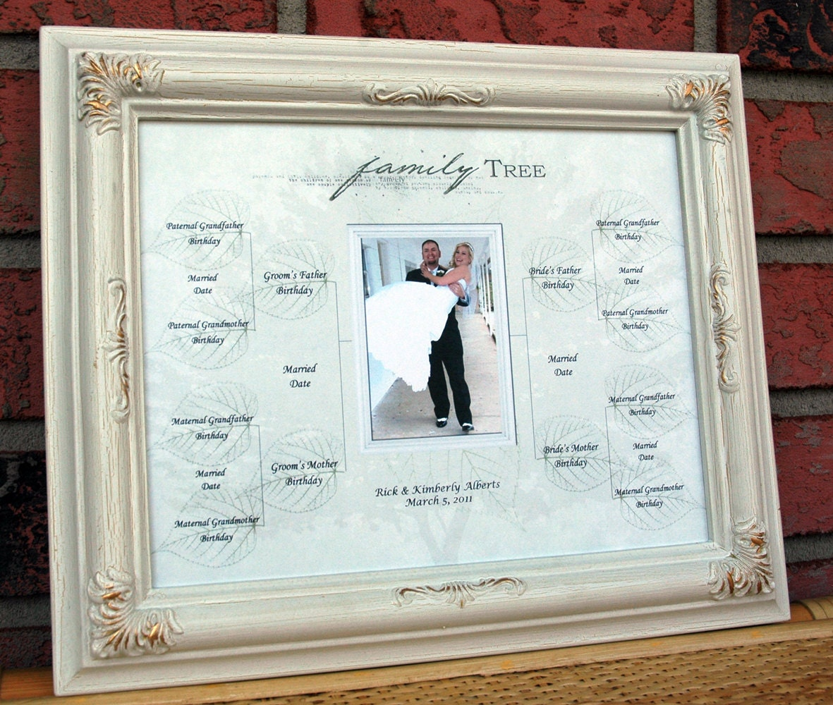 """Wedding Gift Family Tree for Bride and Groom 8"""" x 10"""" Photo for Framing"""