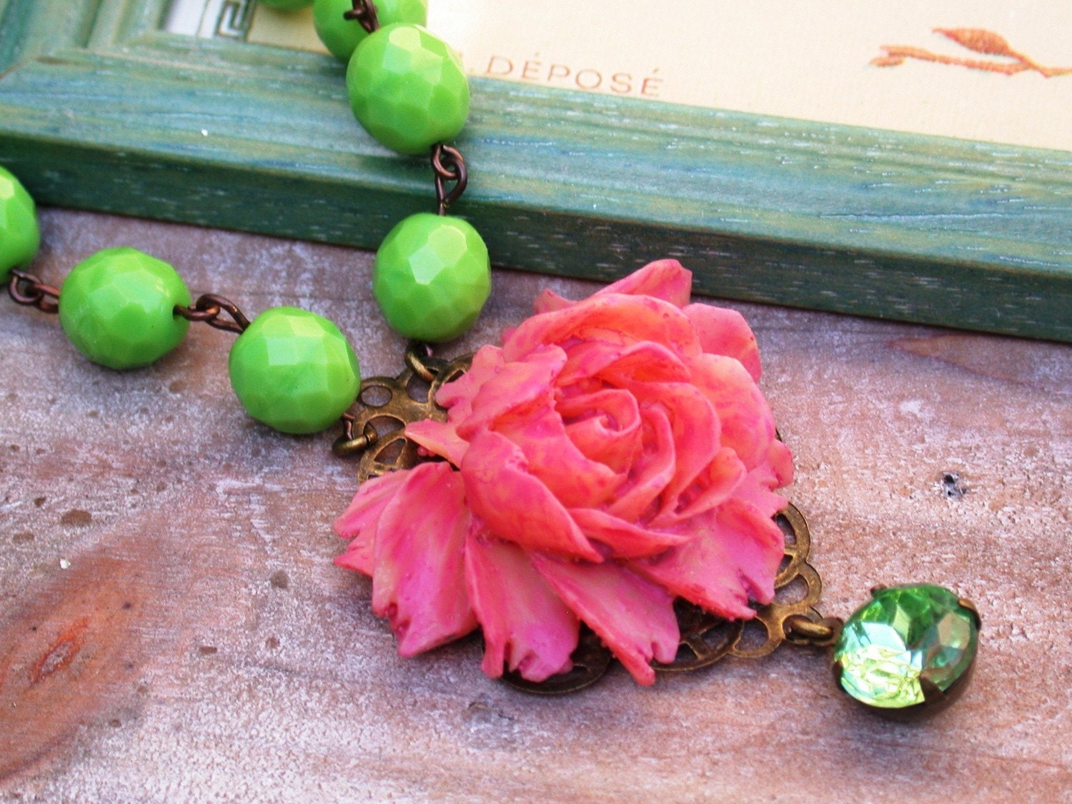Vintage Pink Rose And Green Beads Chain