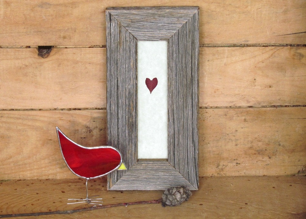 Red Heart Leaf in Handmade Reclaimed Barnboard Wood and Upcycled Glass Frame, OOAK Valentine - SNLCreations