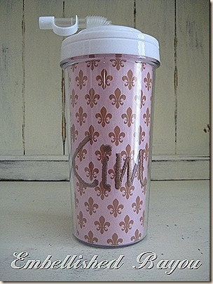 Fleur de Lis Personalized Monogrammed Insulated 20 oz Travel Tumbler Cup with Straw, Buy Three, Get ONE FREE