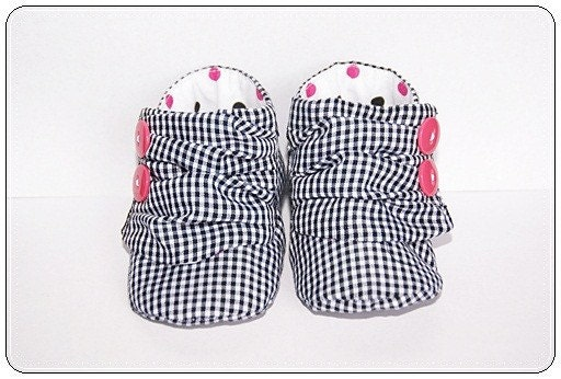Baby Sneakers Size 1 Black, White and Hot Pink
