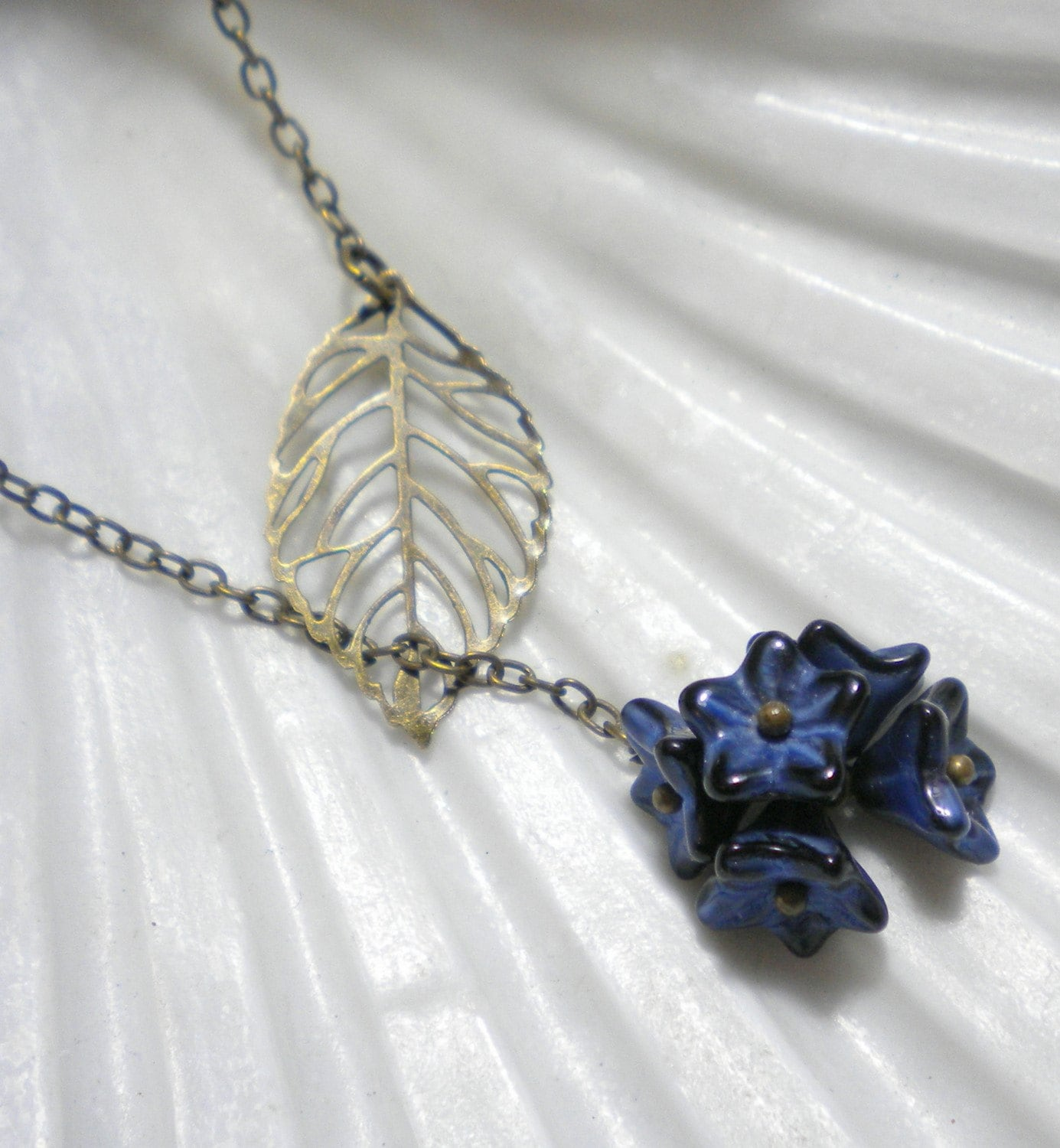 Blue Bouquet Lariat Necklace