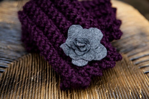 Purple Crochet Fingerless Gloves in rich Plum color - BglorifiedBoutique