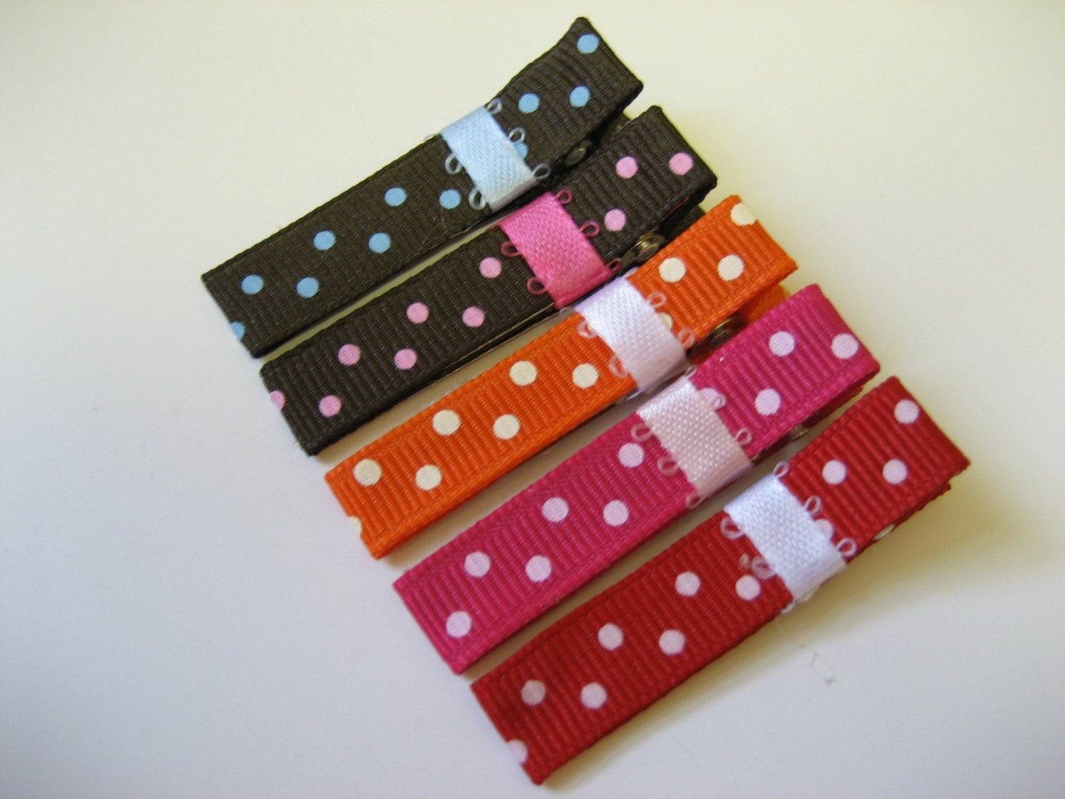 POLKA DOT MIX - Set of 5 Hair Clips / Bows - Baby / Toddler / Girl