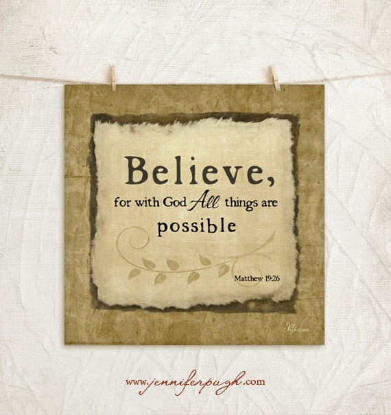 CLEARANCE - Believe with God 12x12 Art Print