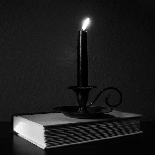 Gothic photography, ritual art, black candle, book, still life, black and white print, dark art, gothic decor, vintage - TheAuthentik