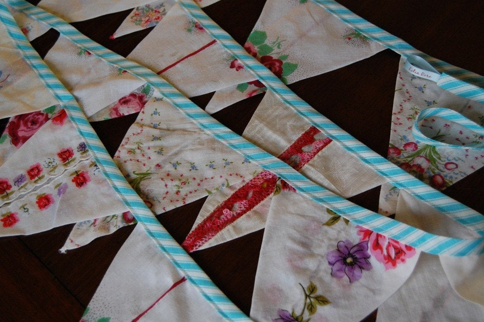 Vintage Floral Heirloom Handkerchief Banner Red and aqua