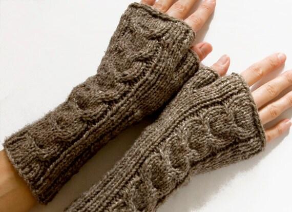 Knitting Pattern Long Gloves : Long Cabled Fingerless Gloves Fingerless Mittens by SCHandmade