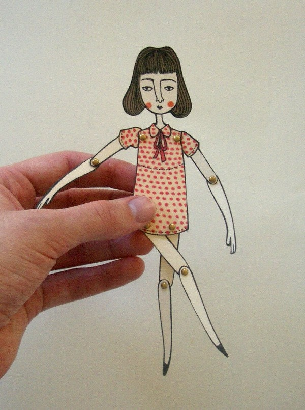 miniature moveable paper doll