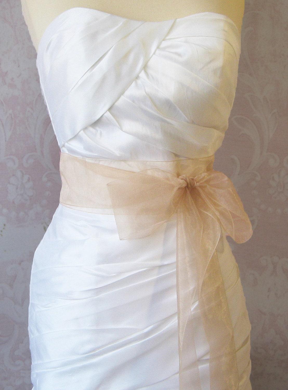 Blush Champagne Organza Ribbon, 2.75 Inch Wde, Ribbon Sash, Bridal Sash, Wedding Belt, 4 Yards
