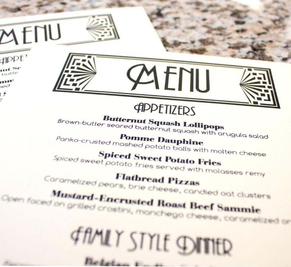 Art deco menu cards wedding ivory black by for Artistic cuisine menu