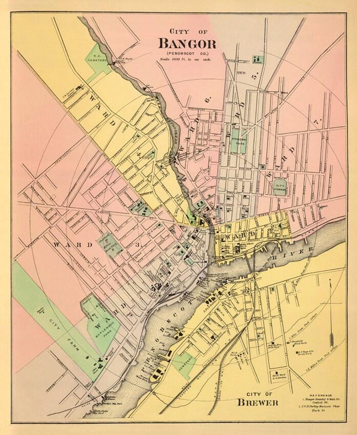 Antique Bangor Maine City Map Print 16 X 20 By AncientShades
