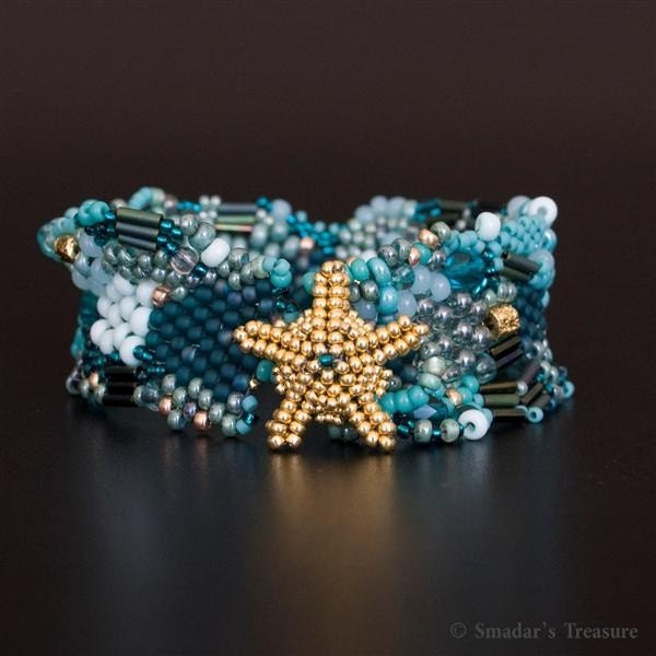 Treasures of the Ocean - Freeform Bracelet with Starfish Button - OOAK