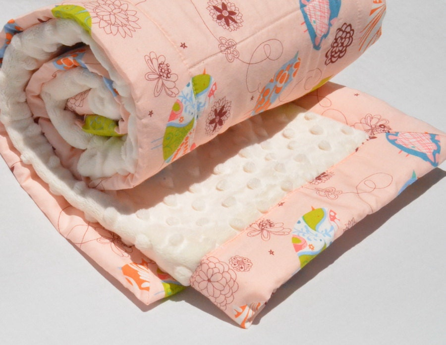 Build a Boco Quilt - Stroller Size Quilted Baby Blanket with Minky- You choose fabric and minky color