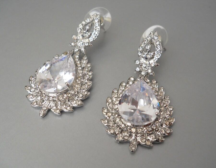 Teardrop Swarovski crystal  bridal earrings