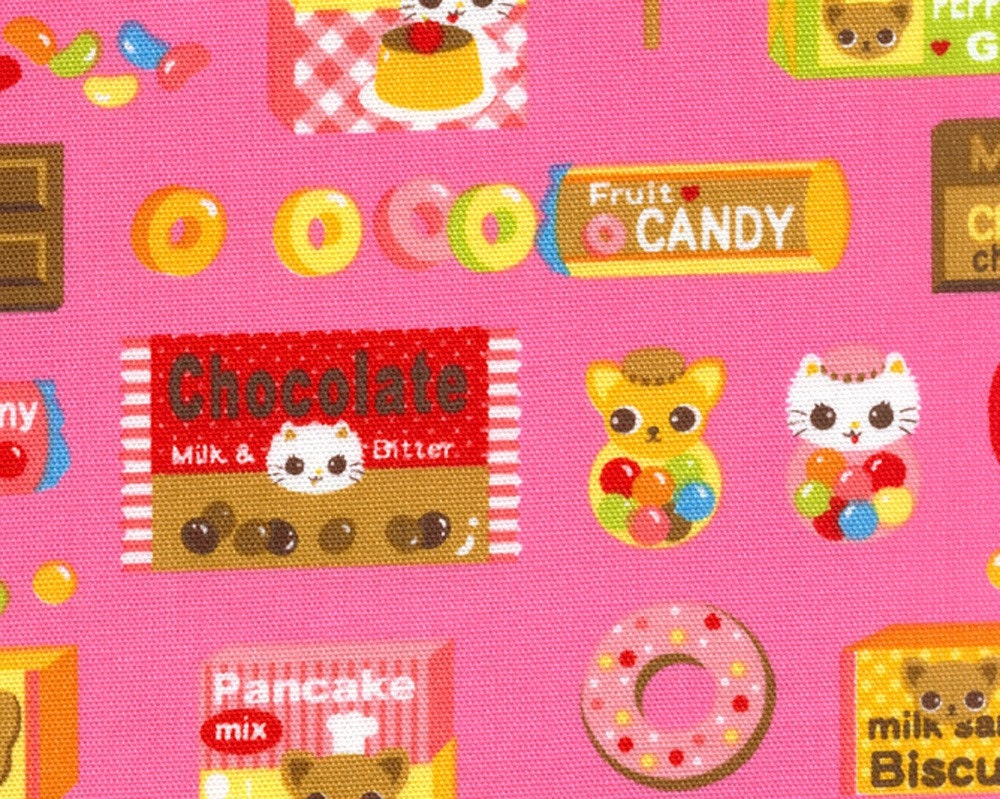 ON SALE Yummy Delights with Chihuahua Chef and Friends on Pink - Japanese Fabric