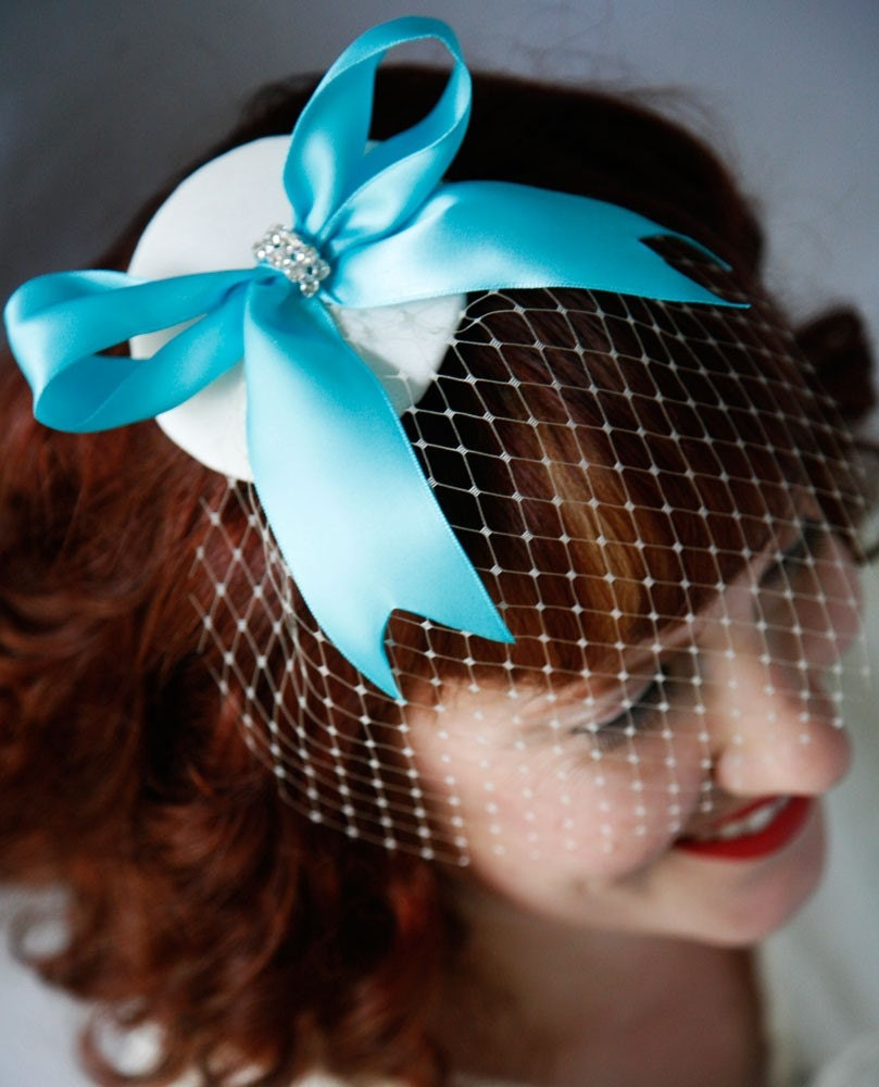 TIFFANY - Blue Fascinator With French Veil