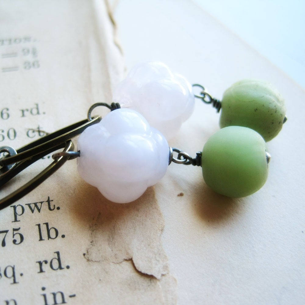 Handmade Earrings - Sterling Silver, Acrylic White Bubble Beads, Handmade Vintage Glass, Brass - Minutiae
