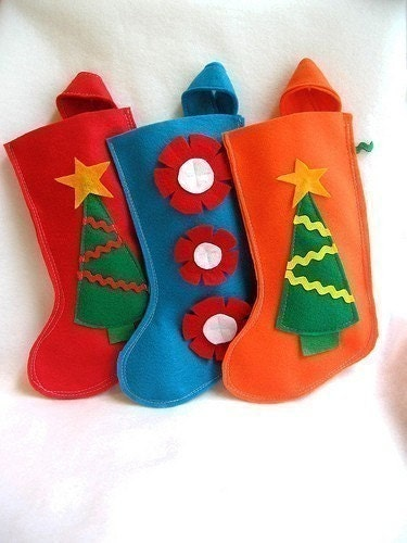 one rikrak eco friendly felt stocking in fun bright colors