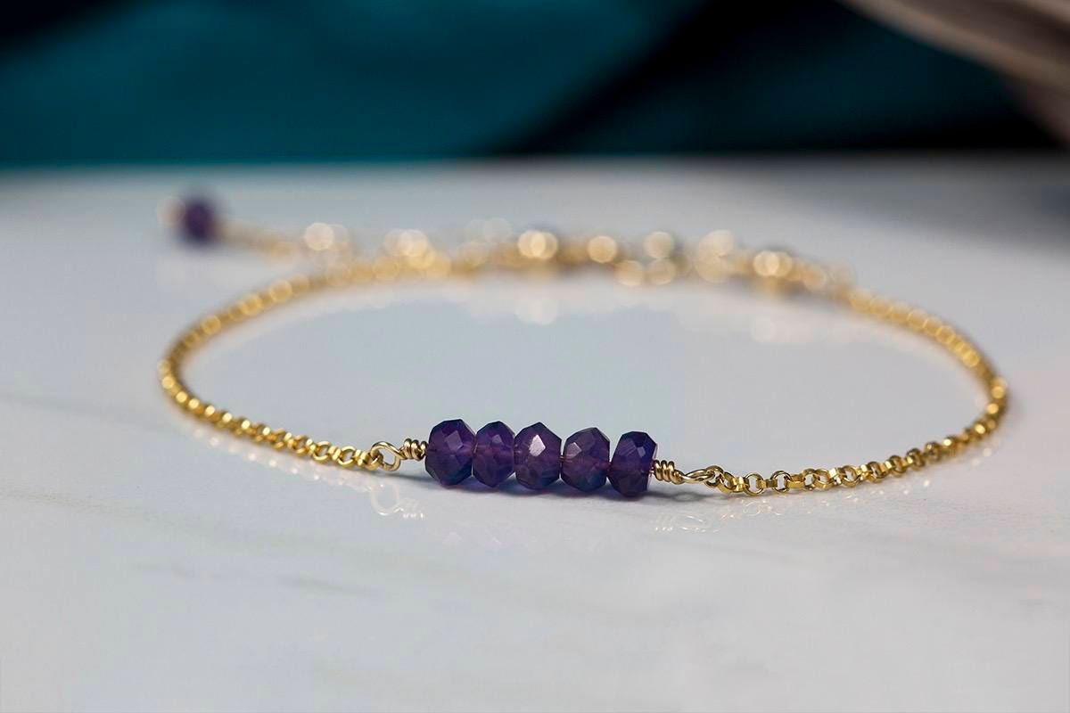 Dainty amethyst bracelet purple bracelet delicate bracelet bridesmaid jewelry delicate wedding jewelry purple  Martha