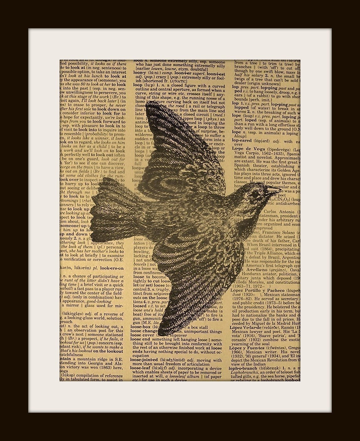 BIRD Print on Vintage Dictionary Page FREE SHIPPING WORLDWIDE