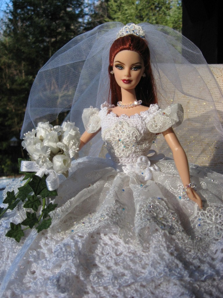 Sale ooak crocheted bridal barbie bed pillow doll by for Crochet wedding dresses for sale