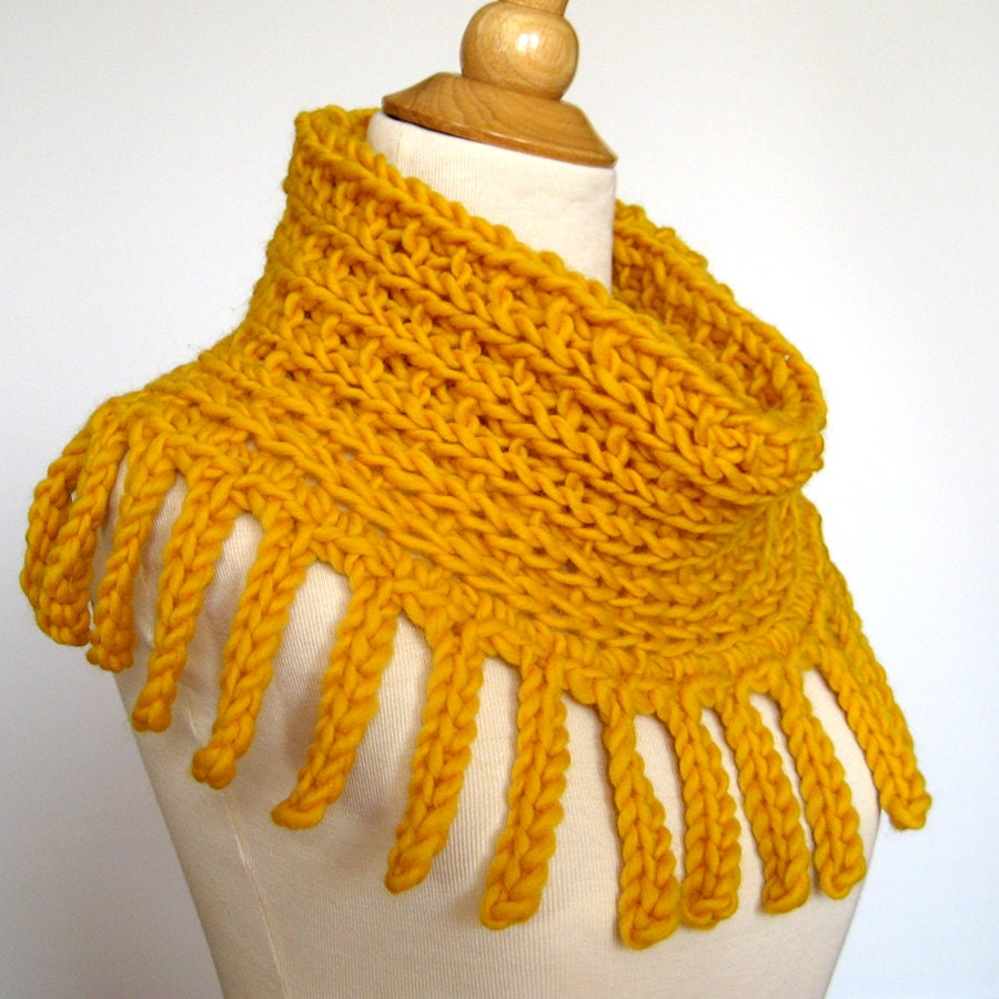 Gold Cowl Hood Cape - Chunky Knit and Crochet Fringed Cowl - Infinity Scarf - Golden Sunshine Soft Wool