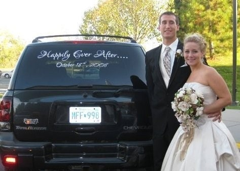 Wedding Car Decal Personalized names and wedding date with 'Happily Ever After' Just Married quote