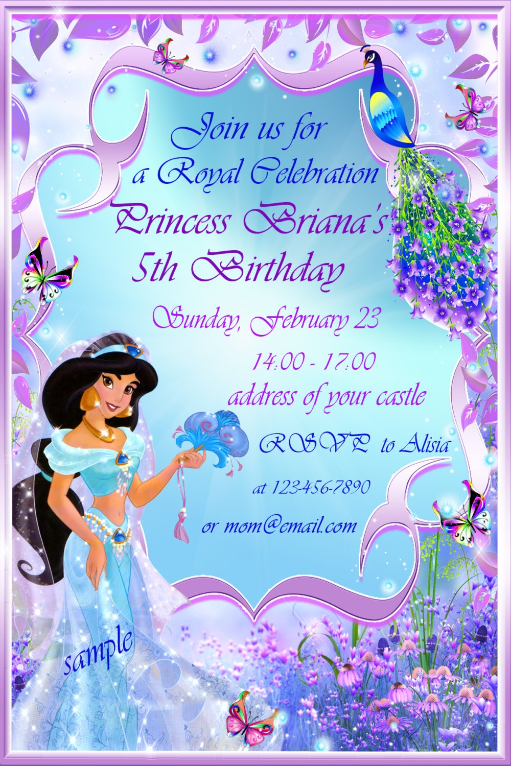 Princess Jasmine Birthday Invitation Jasmine by SuperBirthdayParty