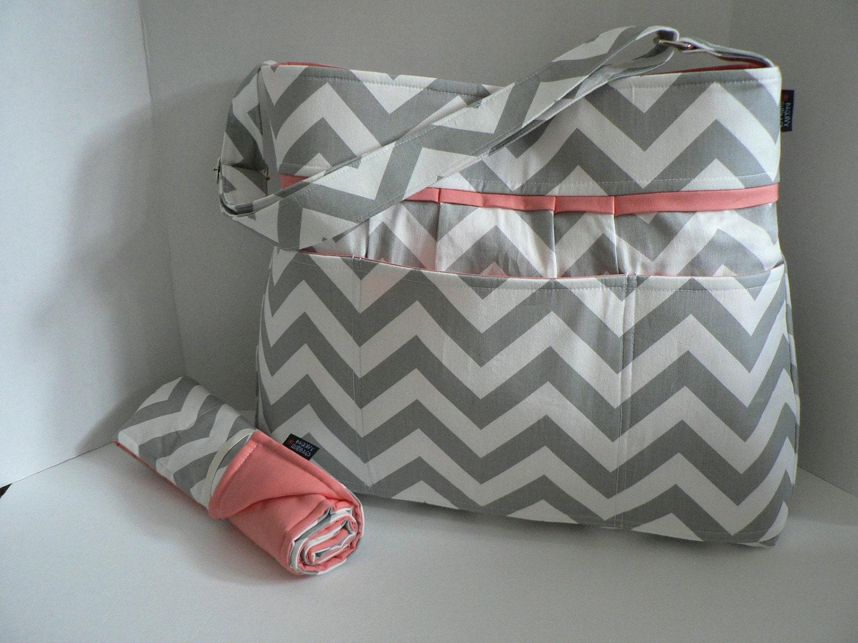Monterey Diaper Bag Set - Grey Chevron Or Custom Design Your Own - Large 9 Pockets