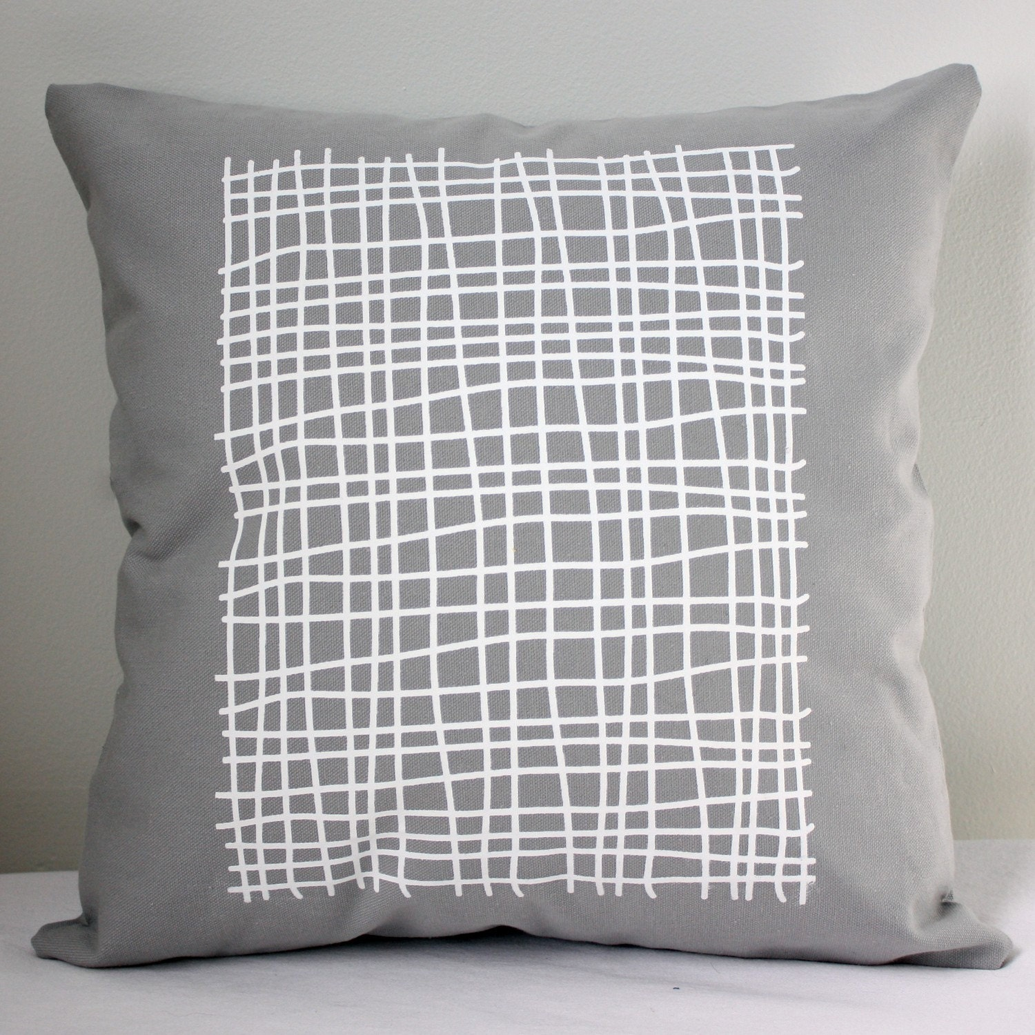 16 in Square Throw Pillow - Light Gray with Grid print in white - wickedmint